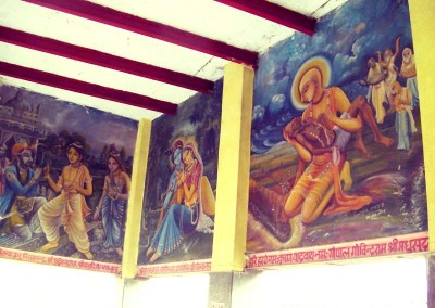 This and the following paintings are all murals (not done by us) of Caitanya's pastimes...