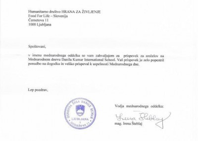 Thank you letter for Learn to Read Slovenia